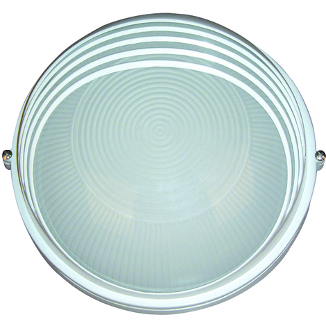 Hublot rond blanc à visière 60W (Eq. 12W FLC - 8W LED) IP54 E27 Diam. 170mm