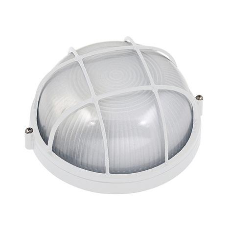 Hublot rond blanc avec grille 60W (Eq. 12W FLC - 8W LED) IP54 E27 Diam. 170mm