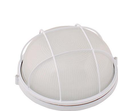 Hublot rond blanc + grille de protection 100W (Eq. 20W FLC - 12W LED) IP54 E27 Diam. 240mm