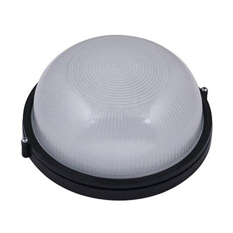 Hublot rond noir 60W (Eq. 12W FLC - 8W LED) IP54 E27 Diam. 180mm