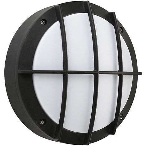 Hublot rond noir à LED 12W (Eq. 96W) IP54 4000K grille protection Diam. 220mm