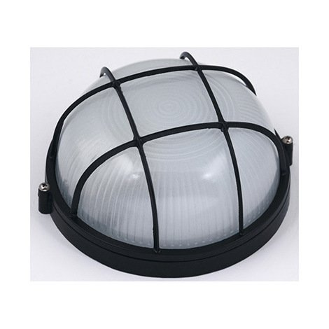 Hublot rond noir + grille de protection 60W (Eq. 12W FLC - 8W LED) IP54 E27 Diam. 170mm