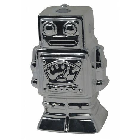 Hucha Robot Plateado de Cerámica para Niños. Huchas Infantiles Originales, Figura de Robot Hucha Decoración 17x8x10 cm