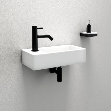 "main image of ""Huckle Wall Hung Basin Sink Small Cloakroom Basin Rectangle Ceramic Wash Basin (Right Hand)"""