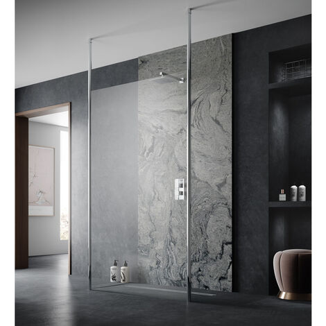 Hudson Reed 1000mm Wetroom Screen with Double Chrome Ceiling to Floor Poles - GPCP10