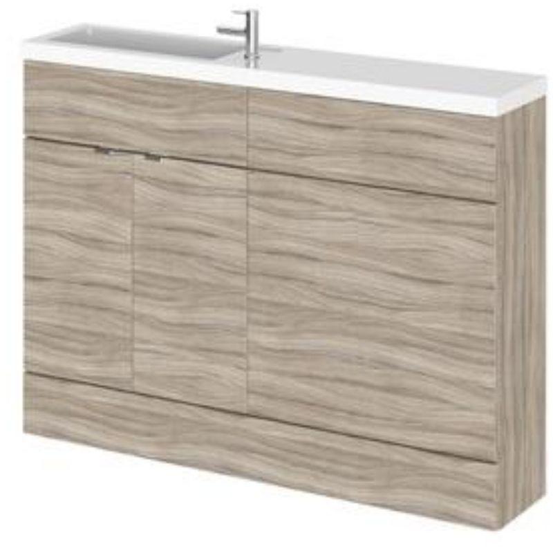 600mm Hudson Reed Driftwood Compact Floor Standing Vanity Unit with Sink Basin Bathroom Furniture Storage