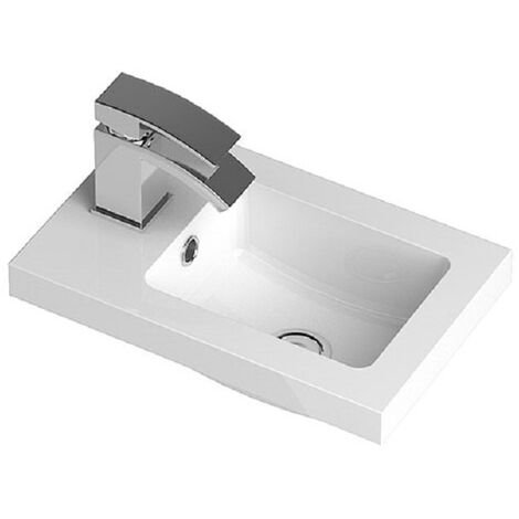 Hudson Reed 403mm x 255mm Compact Polymarble Basin with 1 Tap Hole - PMB301