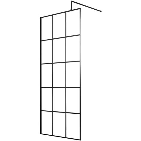 Hudson Reed 800mm Framed Wetroom Screen with Support Bar - WRSF080