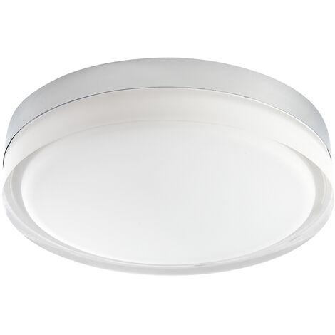 Hudson Reed Almsee Plafón de Techo LED 18W Redondo Cromado para Baño – IP44 Impermeable – Blanco Cálido (3000K)