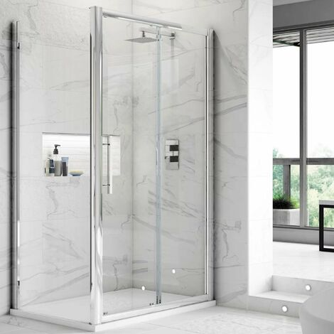 Hudson Reed Apex Sliding Shower Enclosure 1400mm x 700mm with Shower Tray - 8mm Glass