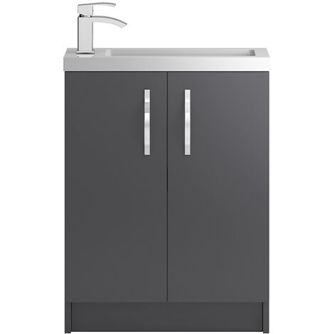 Hudson Reed Apollo Compact Floor Standing 2-Door Vanity Unit with Basin 605mm Wide - Gloss Grey