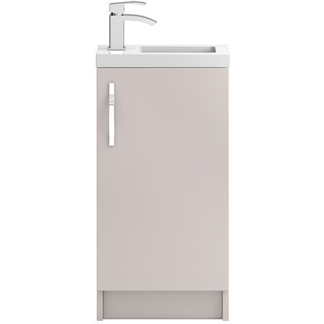Hudson Reed Apollo Compact Floor Standing Vanity Unit and Basin 405mm Gloss Cashmere 1 Tap Hole