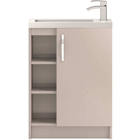 Hudson Reed Apollo Compact Floor Standing Vanity Unit and Basin 605mm Gloss Cashmere 1 Tap Hole