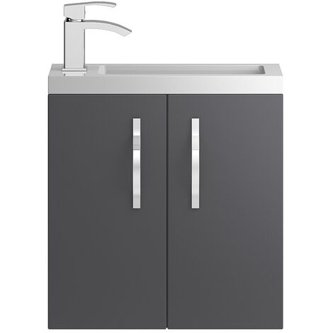 """main image of """"Hudson Reed Apollo Compact Wall Hung Vanity Unit and Basin 505mm Wide Gloss Grey 1 Tap Hole"""""""
