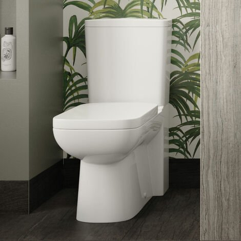 Hudson Reed Arlo Compact Close Coupled Toilet with Push Button Cistern - Soft Close Seat