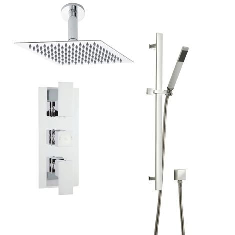 Hudson Reed Art Thermostatic Shower Mixer 200mm Ceiling Head Rail