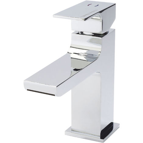 Hudson Reed ART315 Art | Modern Bathroom Waterfall Mono Basin Mixer Tap With Free Push Button Waste , 168mm x 55mm, Chrome