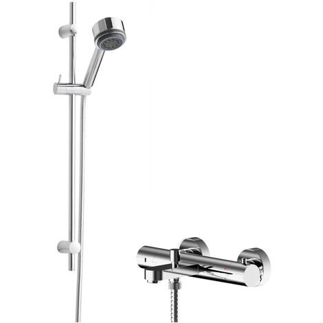 Hudson Reed Arvan Thermostatic Bath Shower Mixer with Linear Slider Rail Kit - Chrome