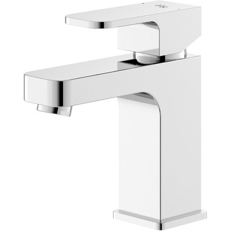 Hudson Reed AST305 Astra | Modern Bathroom Mono Basin Mixer Tap with Free Push Button Waste, 150mm x 50mm, Chrome