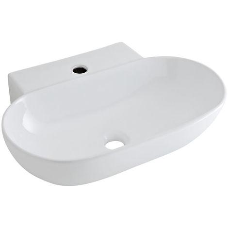Hudson Reed Aufsatzwaschbecken Otterton - Moderne Waschschale aus Keramik in Weiß Oval 555MM Breite - Waschbecken Waschtisch