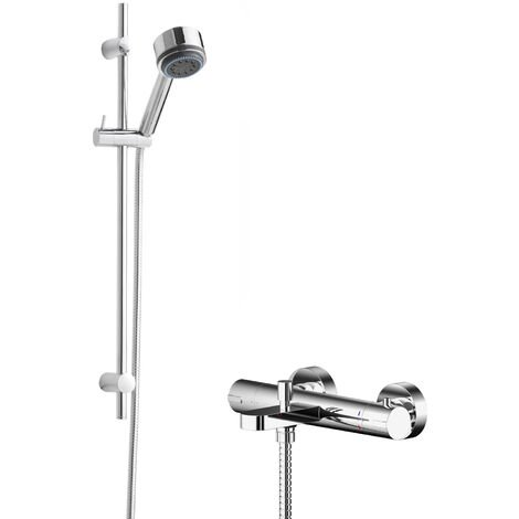 Hudson Reed Binsey Thermostatic Bath Shower Mixer with Linear Slider Rail Kit - Chrome