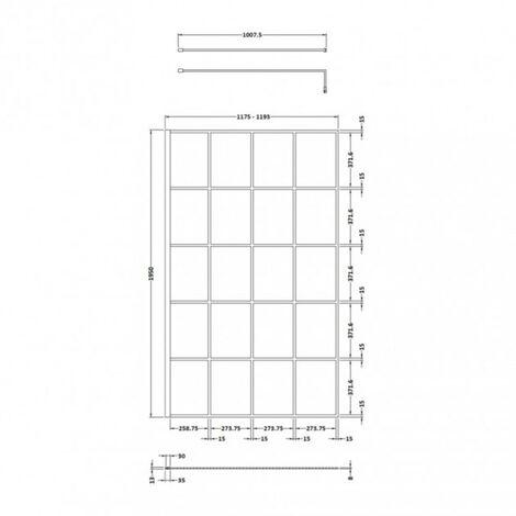 Hudson Reed Black Framed 1200mm Wetroom Screen & Support Bar - size 1200mm - color Black