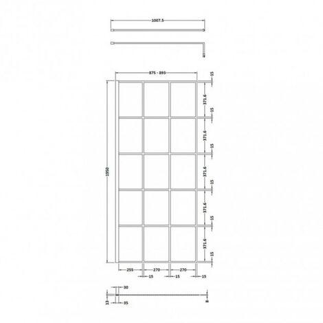 Hudson Reed Black Framed 900mm Wetroom Screen & Support Bar - size 900mm - color Black