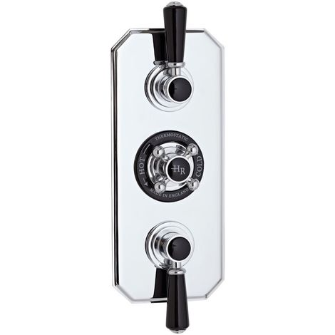 Hudson Reed BTSVT003 Black Topaz | Triple Concealed Shower Valve, Chrome / Black