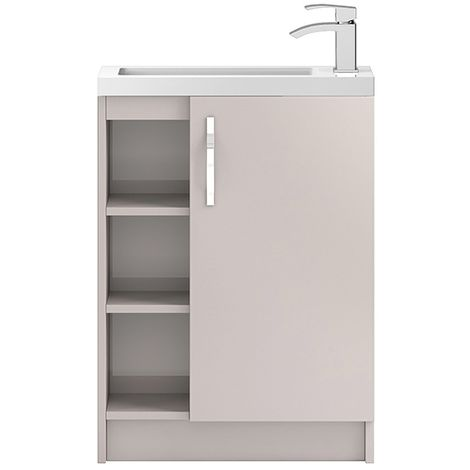 Hudson Reed Cashmere Apollo Compact Floor Standing 600mm Cabinet & Basin With Shelves - APL776C