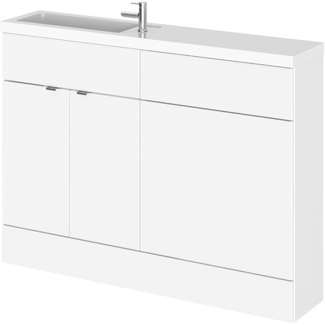 Hudson Reed CBI108 Fusion | Modern Bathroom Slimline Combination Toilet WC and Basin Sink Unit, 1200mm, Gloss White
