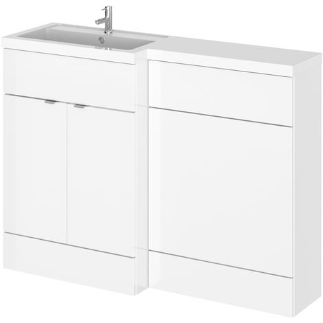 Hudson Reed CBI109 Fusion | Modern Bathroom Left Hand Combination Toilet WC and Basin Sink Unit, 1200mm, Gloss White