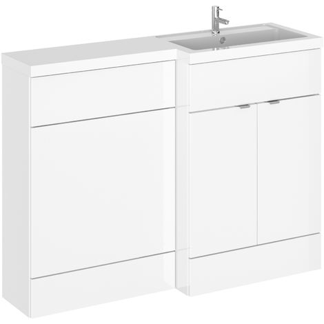 Hudson Reed CBI110 Fusion | Modern Bathroom Right Hand Combination Toilet WC and Basin Sink Unit, 1200mm, Gloss White