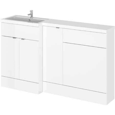 Hudson Reed CBI113 Fusion | Modern Bathroom Left Hand Combination Storage, Wide Toilet WC and Basin Sink Unit, 1500mm, Gloss White