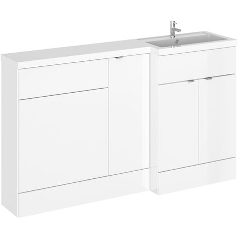 Hudson Reed CBI114 Fusion | Modern Bathroom Right Hand Combination Storage, Wide Toilet WC and Basin Sink Unit, 1500mm, Gloss White