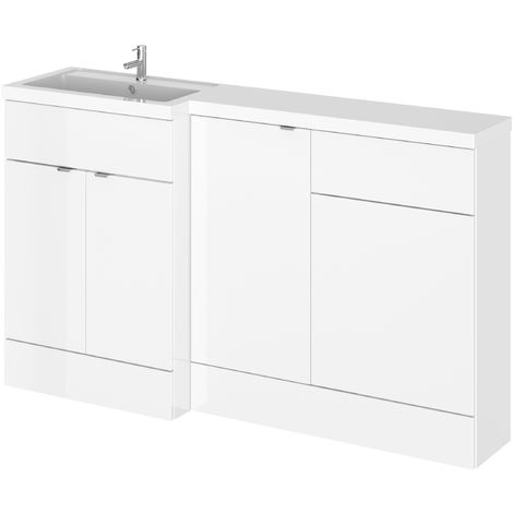 Hudson Reed CBI115 Fusion | Modern Bathroom Left Hand Combination Storage, Toilet WC and Basin Sink Unit, 1500mm, Gloss White