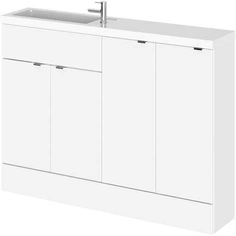Hudson Reed CBI125 Fusion | Modern Bathroom Slimline Combination Storage and Basin Sink Unit, 1200mm, Gloss White