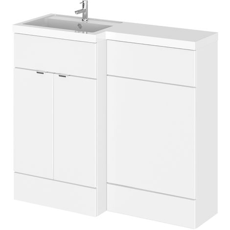 Hudson Reed CBI126 Fusion | Modern Bathroom Left Hand Combination Toilet WC and Basin Sink Unit, 1000mm, Gloss White