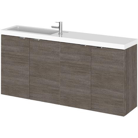 Hudson Reed CBI535 Fusion | Modern Bathroom Slimline Wall Hung Vanity Basin Sink Unit with Soft Close Doors, 1200mm, Grey Avola