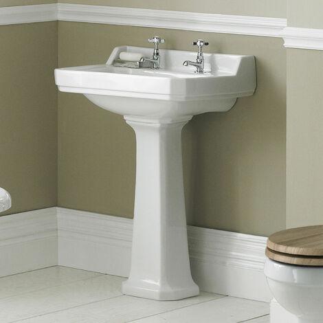 Hudson Reed CCR019 Richmond | 560mm Basin & Pedestal (2 Tap Hole), White