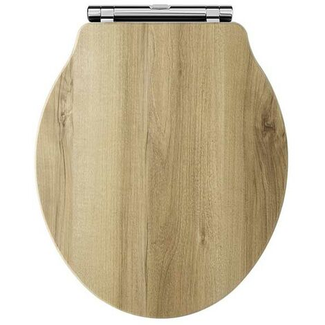 Hudson Reed Chancery Soft Close Toilet Seat Natural Walnut Chrome Hinges