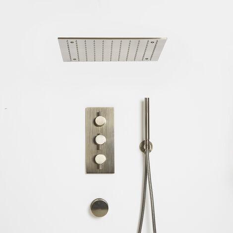 Hudson Reed Clarus - Modernes thermostatisches 3-Wege Duschsystem mit Umsteller und quadratischem 400mm Unterputz-Duschkopf zur Deckenmontage, Handbrause Set und Überlauf-Wannenfüller - gebürstetes Gold