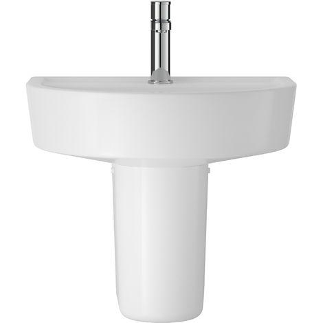 Hudson Reed CMA004 Luna | 420mm Basin & Semi Pedestal, White