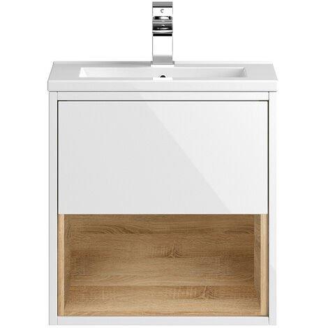 """main image of """"Hudson Reed Coast Wall Hung Vanity Unit with Basin 2 500mm Wide - Gloss White"""""""