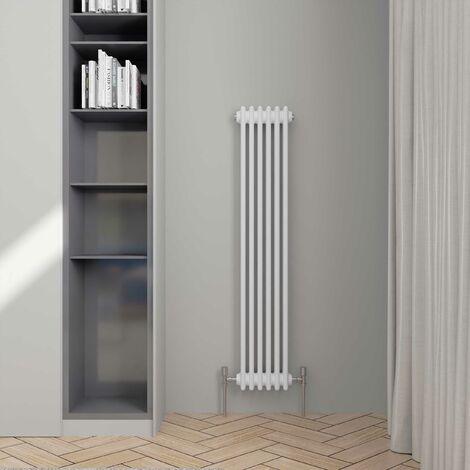 Hudson Reed Colosseum 3-Column Vertical Radiator, 1500mm H x 291mm W, White