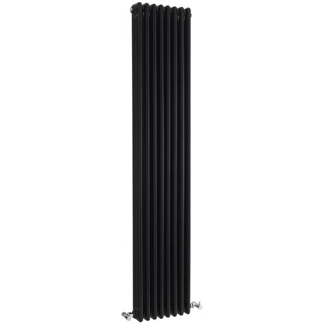 Hudson Reed Colosseum 3-Column Vertical Radiator 1800mm H x 381mm W - High Gloss Black
