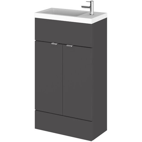 Hudson Reed Compact 505mm Cloakroom Vanity Unit & Basin Gloss Grey
