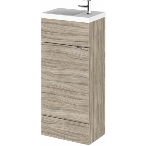 Hudson Reed Compact Fitted Vanity Unit with Basin 400mm Wide - Driftwood