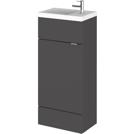 Hudson Reed Compact Fitted Vanity Unit with Basin 400mm Wide - Gloss Grey