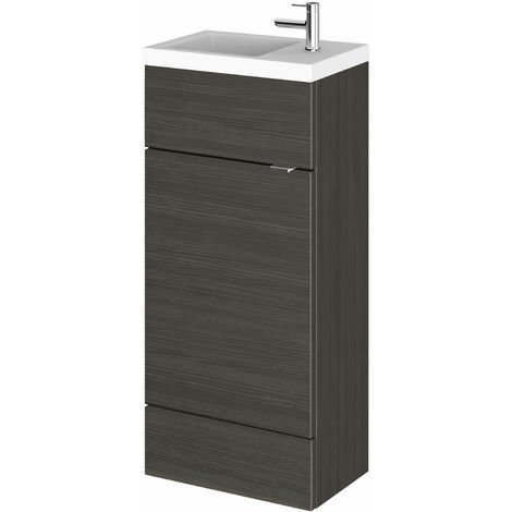Hudson Reed Compact Fitted Vanity Unit with Basin 400mm Wide - Hacienda Black