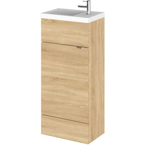 Hudson Reed Compact Fitted Vanity Unit with Basin 400mm Wide - Natural Oak
